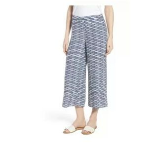 Nic + Zoe Big Sea Pant Blue Fish Crop Wide Leg 4P